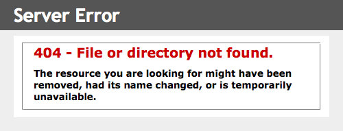 404 - File or directory not found