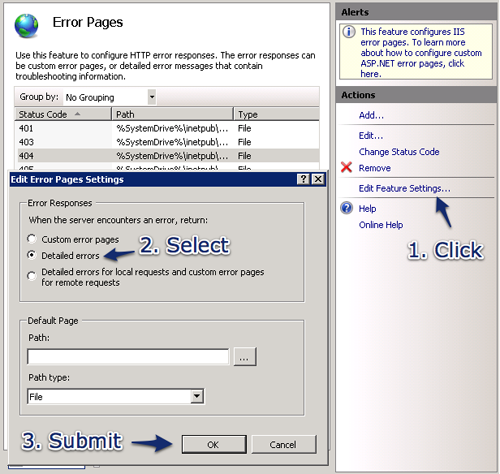 IIS7 404-error detailed settings